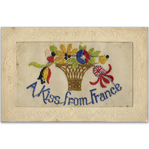WWI Embroidered Kiss From France Postcard