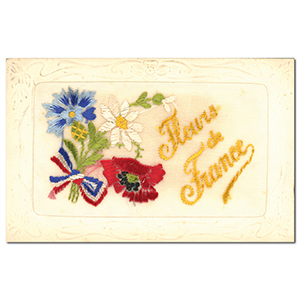 WWI Embroidered Flowers From France Postcard