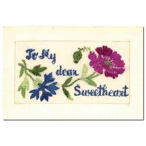 WWI Embroidered Dear Sweetheart Flap Postcard