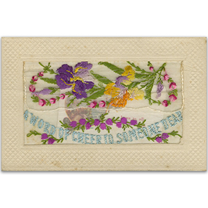WWI Embroidered Word of Cheer (flap) Postcard
