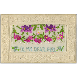 WWI embroidered Dear Girl (flap) Postcard