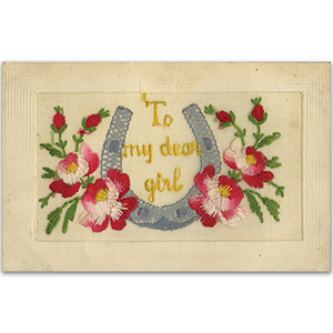 WWI embroidered Dear Girl Postcard