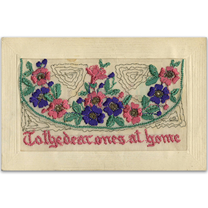 WWI Embroidered Dear Ones at Home Postcard