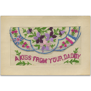 WWI Embroidered Flap Postcard Kiss From Daddy