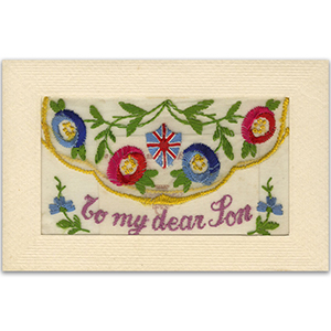 WWI Embroidered Dear Son (flap) Postcard