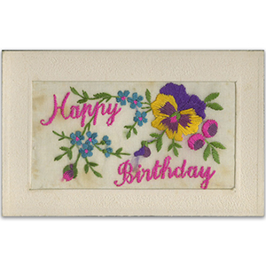 WWI Embroidered Happy Birthday Postcard
