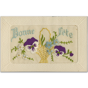 WWI Embroidered Bonne Fete Postcard