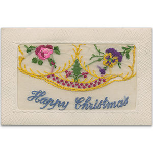 WWI Embroidered Christmas Flap Postcard (various designs))