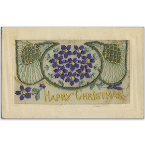 WWI Embroidered Christmas Flap Postcard (various designs)