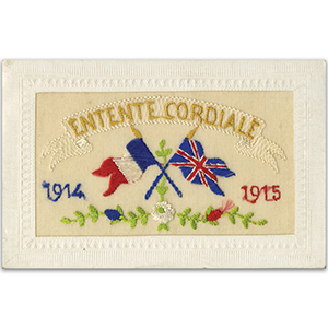 WWI Embroidered Entente Cordiale Postcard