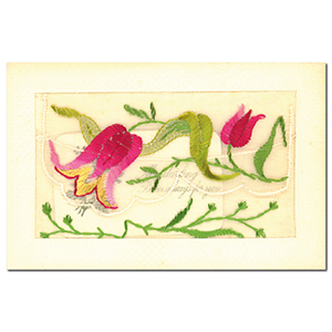 WWI Embroidered Floral Flap Postcard (various designs)