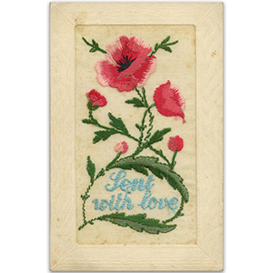 WWI Embroidered Poppy Postcard