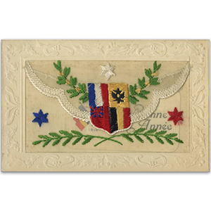 WWI Embroidered Flags Flap Postcard (various designs)