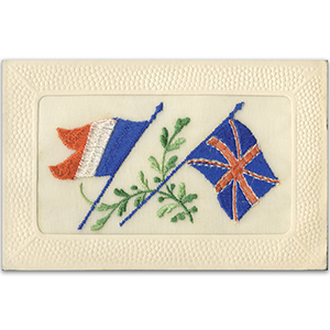 WWI Embroidered Flags Postcard