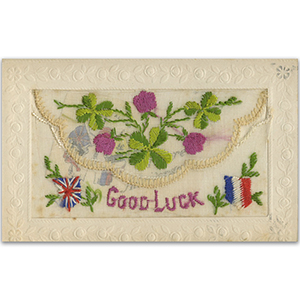 WWI Embroidered Good Luck Clover Postcard