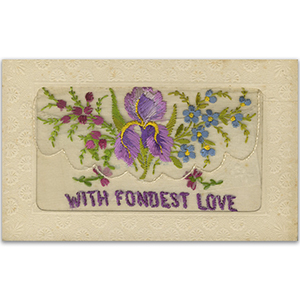 WWI Embroidered Fondest Love (Flap) Postcard