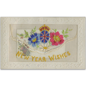 WWI Embroidered New Year Flap Postcard