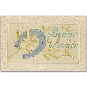 WWI Embroidered Bonne Annee Postcard