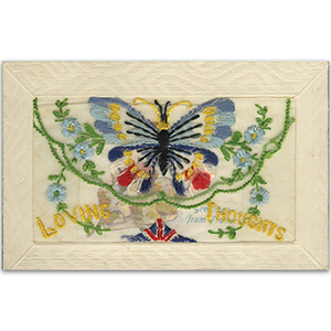 WWI Embroidered Kind Thoughts Postcard