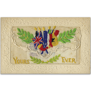 WWI Embroidered Yours Ever Postcard