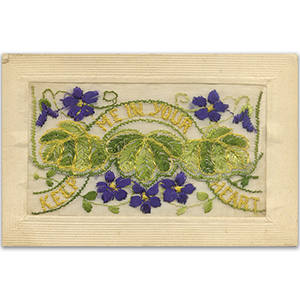 WWI Embroidered Keep Me In Your Heart Postcard