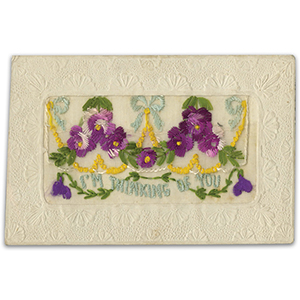 WWI Embroidered (flap) Postcard - Thinking of You