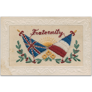 WWI Embroidered Postcard - Fraternity