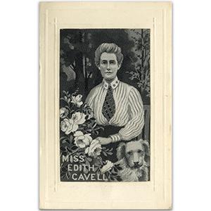 WWI Edith Cavell Silk Postcard