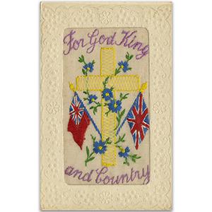 WWI God, King & Country Silk Postcard
