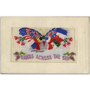 WWI Silk Postcard - Hands Across the Sea