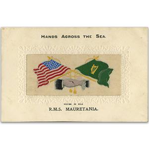 WWI Silk Postcard - Hands Across the Sea R.M.S Mauretania