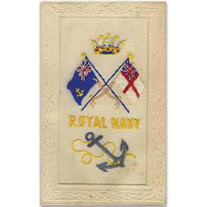 WWI Silk Postcard - Royal Navy